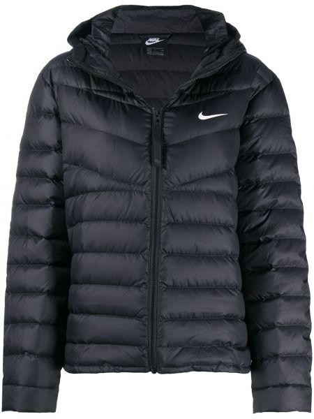 Классическая прямая черная куртка с капюшоном с перьями Nike
