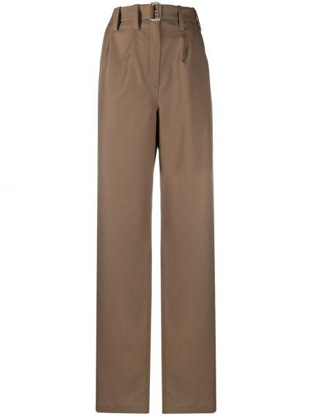 Brązowy wełniany szerokie spodnie z paskiem bezpłatne cięcie Lemaire