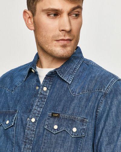 Klasyczna niebieska koszula jeansowa bawełniana Lee