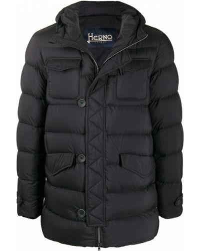 Zielony płaszcz z kapturem Herno
