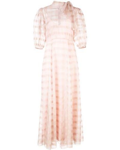 Приталенное розовое расклешенное облегающее платье прозрачное Jill Stuart