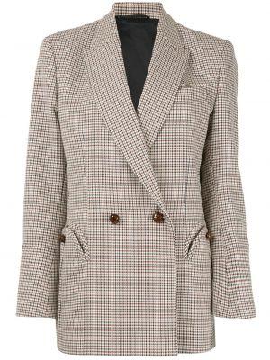 Шерстяной коричневый пиджак с карманами двубортный Blazé Milano