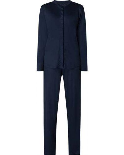 Niebieska piżama z długimi rękawami ze stójką Schiesser