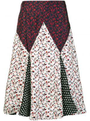 Prążkowana spódnica midi z wysokim stanem z jedwabiu Calvin Klein 205w39nyc