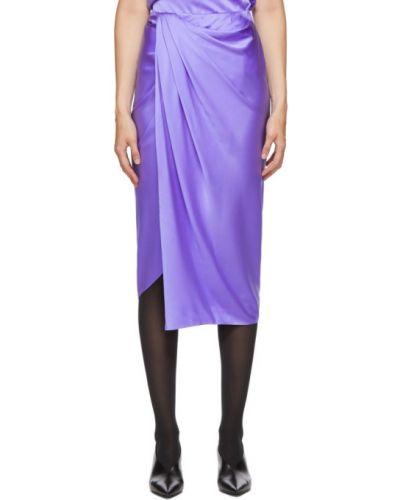Сатиновая фиолетовая юбка с оборками Helmut Lang