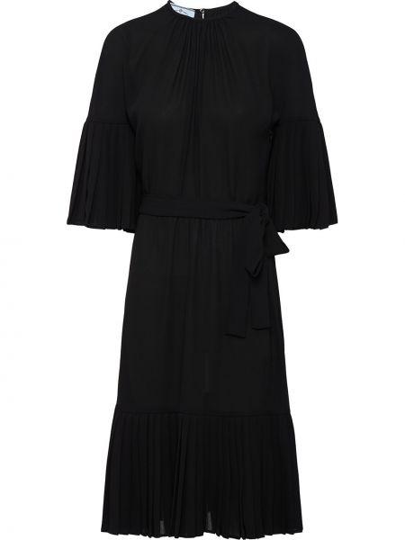 Шифоновое черное платье прозрачное с вырезом Prada