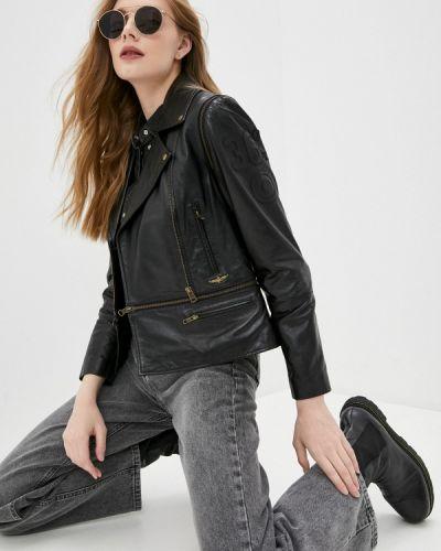 Черная кожаная куртка Aeronautica Militare