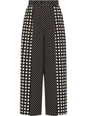 Черные с завышенной талией укороченные брюки свободного кроя Dolce & Gabbana