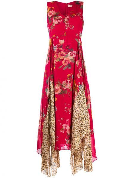 Платье миди с цветочным принтом с V-образным вырезом Twin-set
