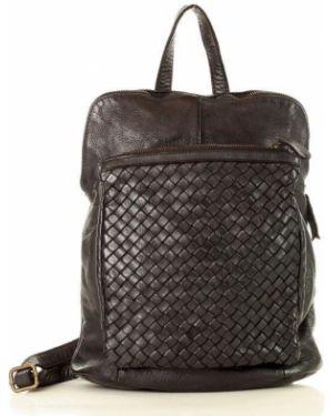 Czarny plecak skórzany oversize Mazzini