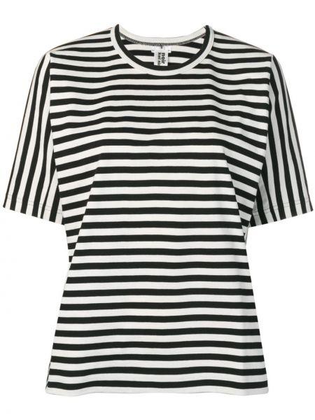 Хлопковая черная футболка свободного кроя с круглым вырезом Comme Des Garçons Noir Kei Ninomiya