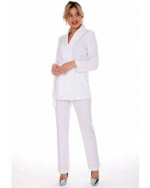 Белый облегающий костюмный брючный костюм свободного кроя Nikol