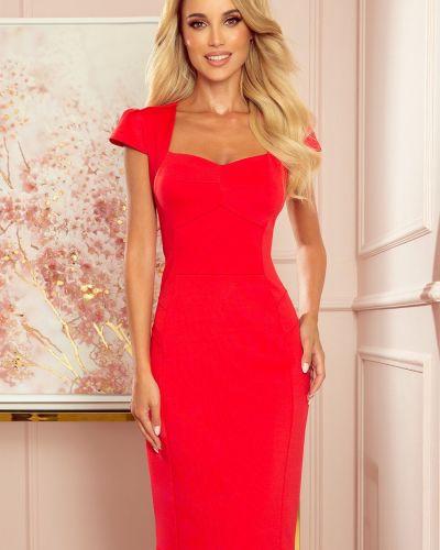 Czerwona sukienka midi elegancka materiałowa Numoco