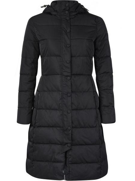Черное пальто с капюшоном Emporio Armani