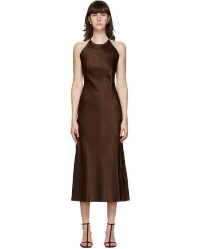 Сатиновое платье макси на бретелях с воротником без рукавов Rosetta Getty