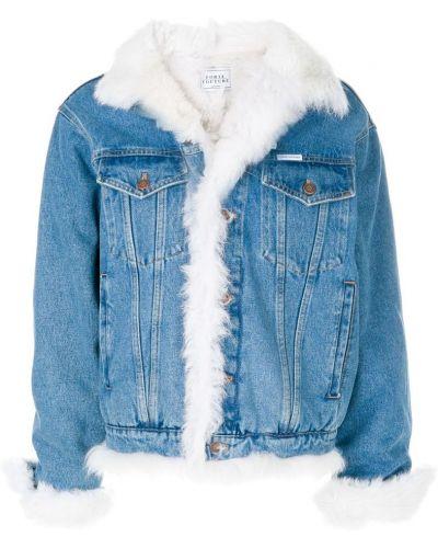 Джинсовая куртка длинная на пуговицах Forte Couture