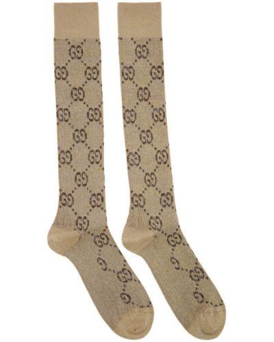 Бежевые носки высокие металлические с манжетами Gucci