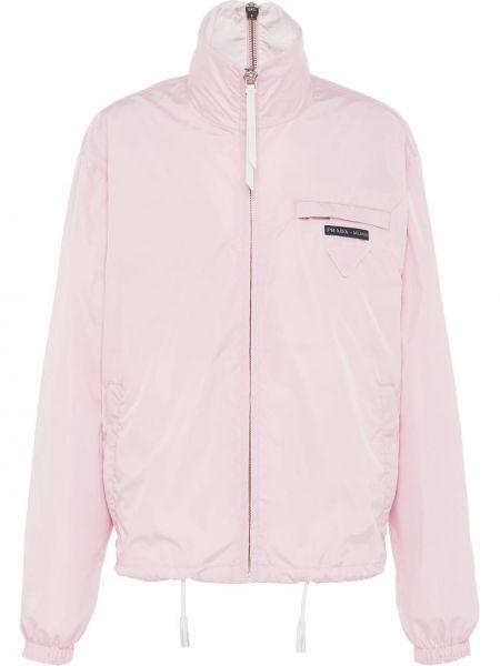 Розовая свободная куртка свободного кроя на молнии Prada