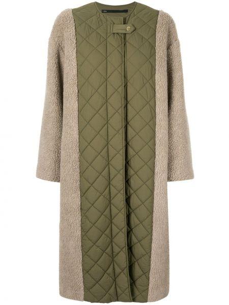 Прямое стеганое пальто с вырезом с капюшоном Muller Of Yoshiokubo