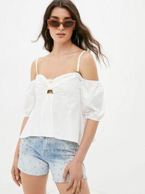 Джинсовая белая блузка с открытыми плечами Guess Jeans