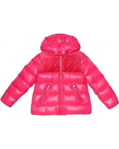 Куртка с капюшоном бархатная розовая Moncler Enfant