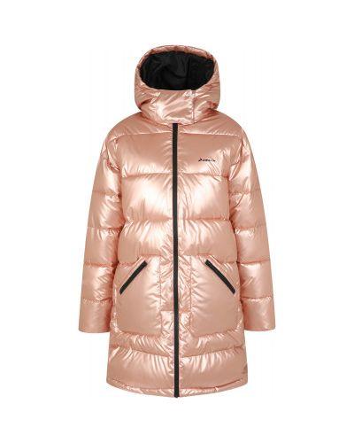 Утепленная розовая длинная куртка на молнии Demix