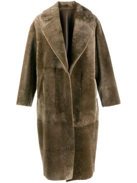 Зеленое кожаное длинное пальто оверсайз Blancha