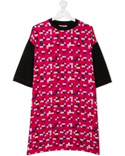 Черное прямое платье мини с вырезом с короткими рукавами Marni Kids
