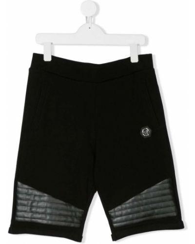 Хлопковые черные спортивные шорты с карманами Philipp Plein