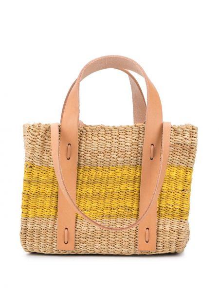 Кожаная желтая соломенная сумка-тоут круглая Muun