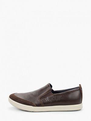 Кожаные слипоны - коричневые Ecco