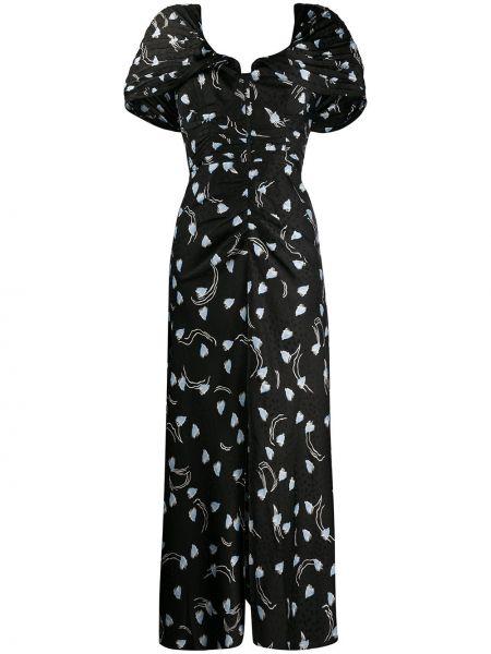 Черное плиссированное платье мини с открытой спиной с короткими рукавами Self-portrait