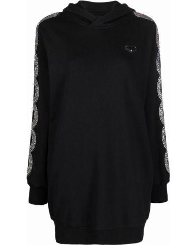 Czarna sukienka z długimi rękawami Philipp Plein