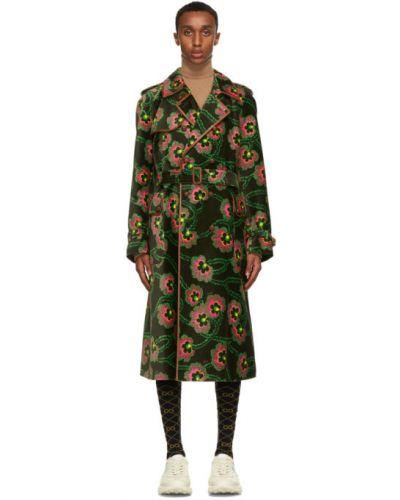 Кожаное черное длинное пальто с воротником Gucci