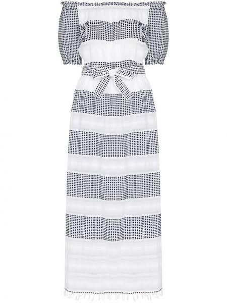 Платье миди с открытыми плечами - белое Lemlem