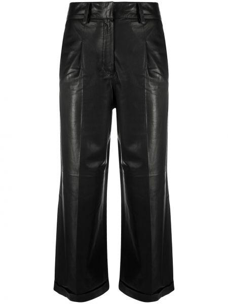 Кожаные черные укороченные брюки свободного кроя с потайной застежкой Arma