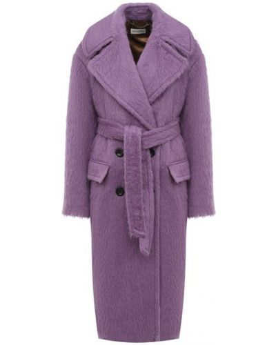 Фиолетовое шерстяное пальто с подкладкой Dries Van Noten