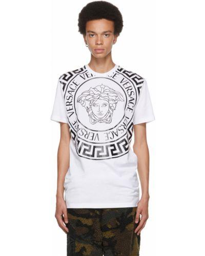Biała koszulka krótki rękaw Versace