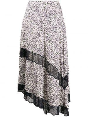 Ажурная юбка миди в рубчик на молнии из вискозы Zadig&voltaire