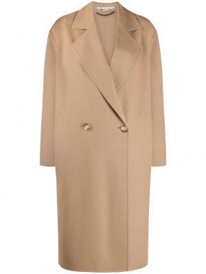 Коричневое шерстяное длинное пальто оверсайз Stella Mccartney