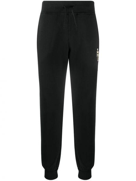 Czarne joggery z haftem bawełniane Hydrogen