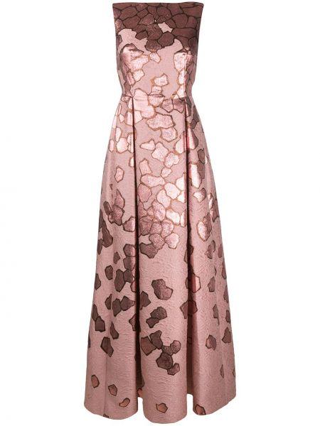 Розовое расклешенное приталенное платье без рукавов Talbot Runhof