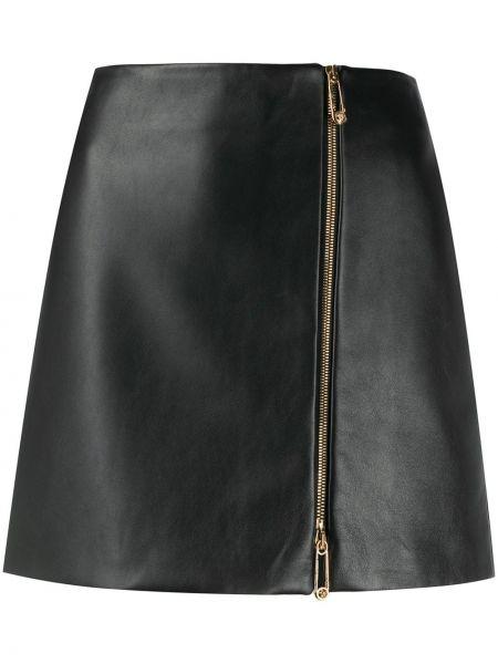 Кожаная черная асимметричная юбка на молнии Versace