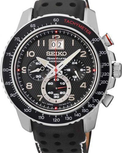 Часы водонепроницаемые с кожаным ремешком с подсветкой Seiko