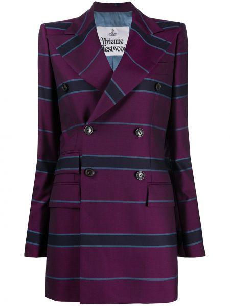 Шерстяной удлиненный пиджак двубортный в полоску Vivienne Westwood