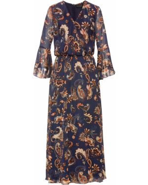 Платье макси шифоновое с длинными рукавами Bonprix