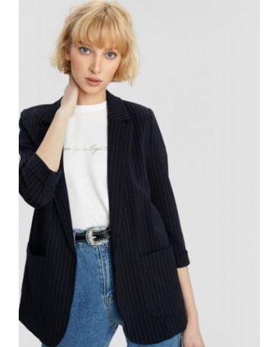 Трикотажный синий пиджак в полоску Ostin