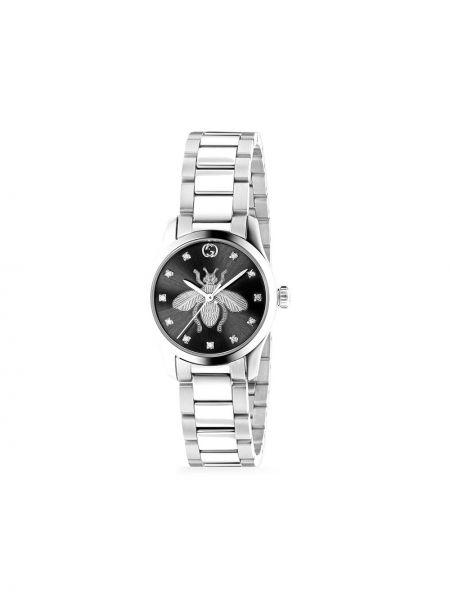 Czarny zegarek kwarcowy z diamentem okrągły Gucci