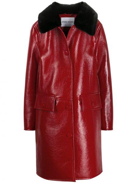 Czarny płaszcz skórzany z długimi rękawami Stand Studio
