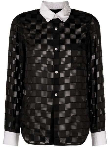 Черная классическая рубашка в клетку с воротником Comme Des Garçons